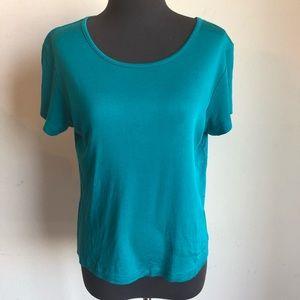 Valerie Stevens sz M teal short sleeve blouse